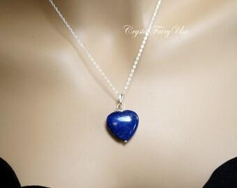 Lapis Lazuli Necklace - Sterling Silver Lapis Heart Necklace - Lapis Lazuli Jewelry - Tiny 14k Rose Gold Filled Blue Stone Jewelry