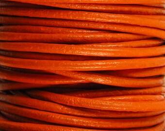 2 Yards - 2mm Orange Leather Cord