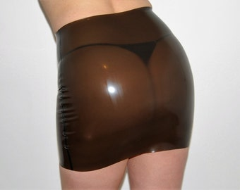 Black Translucent Latex Rubber Mini Skirt
