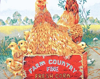 "Mother Hen & Baby Chicks in Corn Crate~ Fabric Panel~16""x18""~Chickens~Farm~Country~For Pillow or Quilting~Cotton"