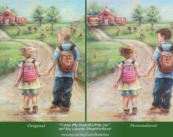 Little sister Big brother art Print PERSONALIZED school boy and girl Custom Names and Hair-color School Children poster, Laurie Shanholtzer