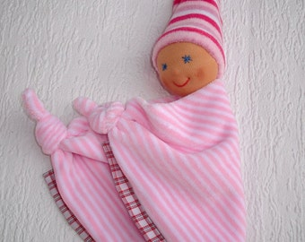 Security blanket, Baby girl gift personalized, Waldorf first baby doll,  Handmade baby shower gift, Newborn snuggle blanket in baby pink