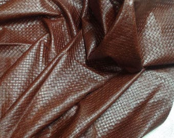 EMB08 Leather Cow Hide Cowhide Craft Fabric Harness Brown Embossed Basket Weave 27 sq ft FREE SHIPPING
