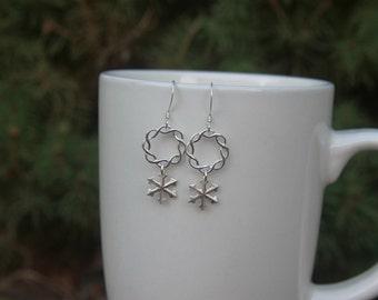 Snowflake Earrings, Wreath Earrings, Silver Snowflake Earrings, Snow Flake Earrings, Winter Jewelry, Silver Christmas Earrings