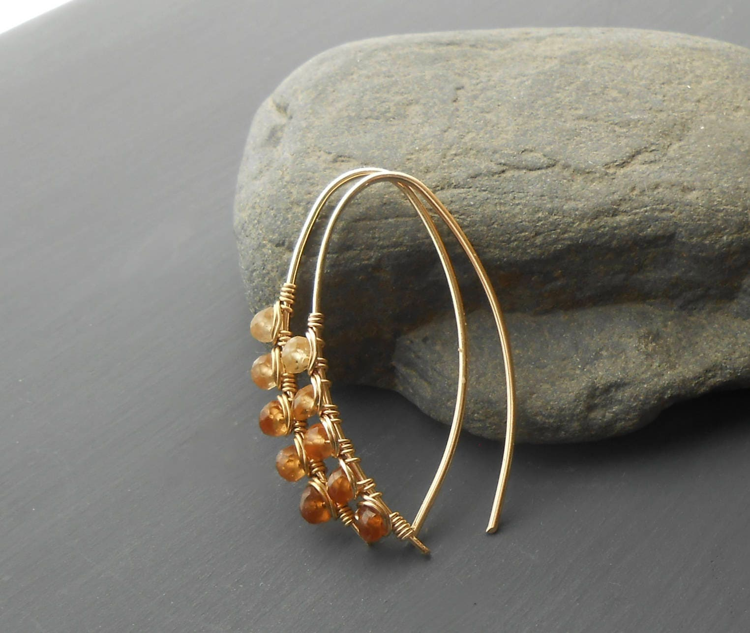 Gold Filled Wire Wrapped Gemstone Earrings, Hessonite Garnet