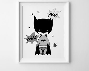 Batman print, kids room print nursery wall art printable art Mini Learners batman wall art nursery print Batman printable affiche scandinave