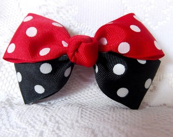 Boutique bow, child's boutique bow,red, black/white polka dot bow