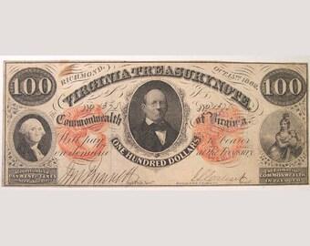 1862 Virginia Treasury Note – Richmond, Virginia
