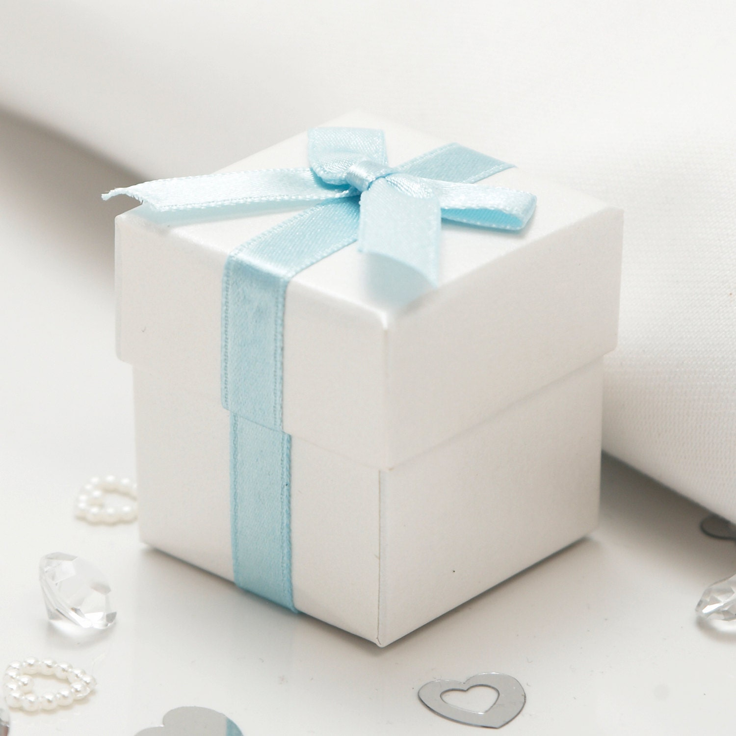 Luxury Ribboned White Favour Boxes with Pale Blue Ribbon