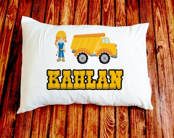 Construction/Girl/Dump Truck/Pillow/standard Pillowcase/custom printed/personalized/kid/baby/baby shower gift/unique baby gift/new baby gift