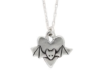 Sterling Bat Necklace - Silver Bat Pendant
