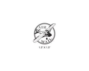 Airplane Post Mark Air Mail -  Par Avion Mail Art Rubber Stamp 505