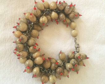 Vintage Chunky Job's Tears Beaded Charm Bracelet