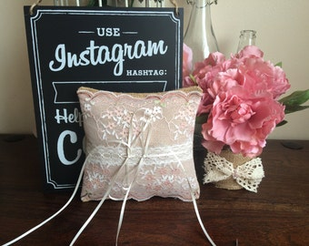 Rustic Hessian & Lace Ring Bearer Cushion Barn Wedding Decoration