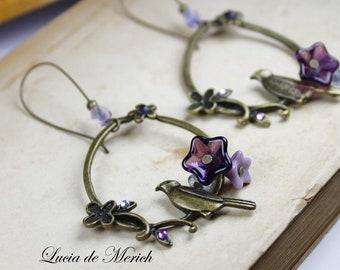Dangle Bird earrings - nature lover dangle earrings - purple birds earrings - coupon code