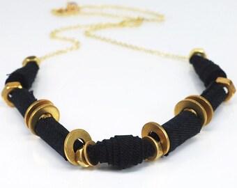 Black Denim Fabric Necklace- Upcycled Denim Jewelry, Brass Hardware Jewelry, Statement Necklace, Contemporary Jewelry, Fabric Bead Necklace