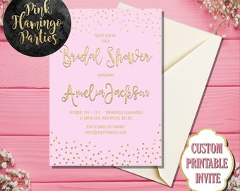 Bridal Shower Invitation, Bridal Shower Invite, Pink and Gold Bridal Shower, Printable Bridal Shower Invitation, Digital Invite