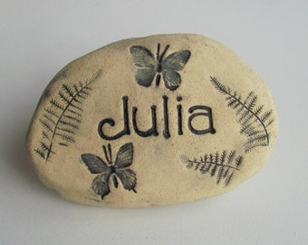 Grandchildren names, Children's names / Stamped Ceramic plant markers / garden stones. Scroll Photos to see all Nature inspired designs