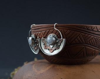 Lotus Silver earrings,silver earrings Moonstone Lotus,moonstone earrings boho,ethnic silver earrings Lotus,Mandala Indian earrings moonstone
