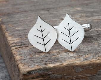 Beech leaf cufflinks in solid silver