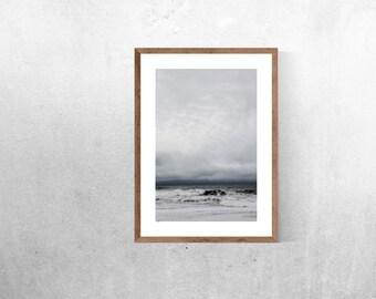 beach art print // storm clouds // abstract blue ocean //  beach house modern, minimalist photography - Davenport photograph art print