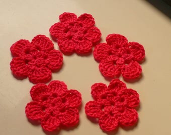 Four pink flowers, scrapbook, customisation, crochet, crochet, applique, applique flower applique flower