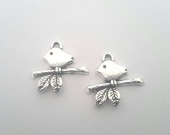 Set of 2 bird on a branch charms