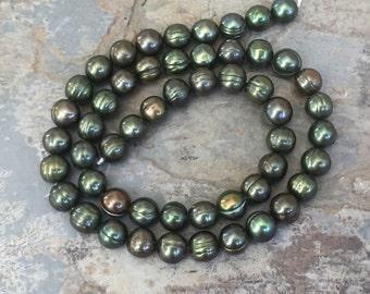 Green Potato Pearl Beads, Dark Green Pearl Beads, Sage Green Pearl Beads, 8mm, 16 inch strand