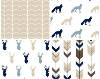 Boy Nursery Curtains Tan Deer Fox Curtains Tan Blue Navy Curtains CUSTOM Spoonflower Cotton Twill Curtain Panel Set Boy Curtains Set of 2