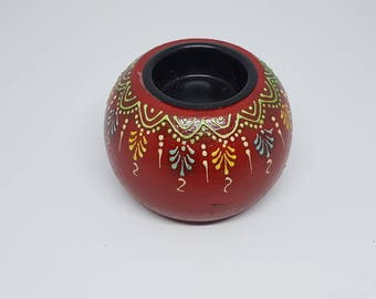 Wooden painted tea light Candle Holder,Indian Design tea light candle holder
