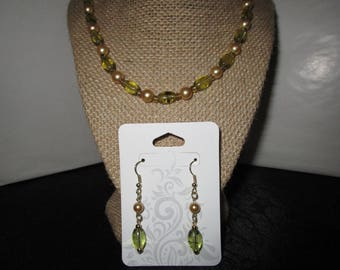 Light Olive Glass Beaded Necklace and earrings set