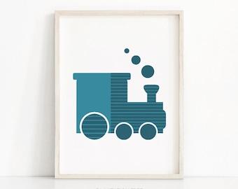 Train Nursery Wall Art, Modern Nursery Print, Baby Boy Nursery Art, Transportation Art, Instant Download Printable Nursery, Baby Boy Print