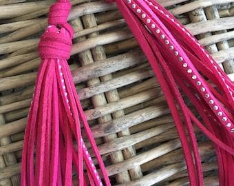 Double Tassel Bag Charm - Hot Pink - Tassel Lariat, Handbag Tassel, Purse Charm, Boho Tassel Charm (ST126HP)