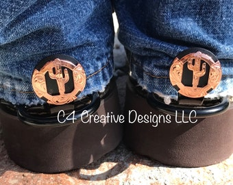 Copper, Cactus, Cowboy, Conchos, Cowgirl, Western, Unique, Boot, Accessories, Birthday, Mothers day, Cuff keepers, Gift Ideas,  1""