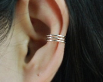 3 Band Sterling Silver ear cuff ,No Piercing Cartilage Ear Cuff, Ear Jacket, Ear Wrap