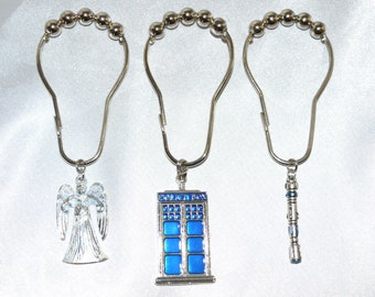 Police Box Shower Curtain Hooks, Set of 12, with Weeping Angels, Sonic Screwdrivers, perfect for fans of Dr. Who