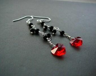 Sterling silver dangle earrings, wire wrapped red heart earrings, black onyx silver earrings, Swarovski element crystal heart earrings