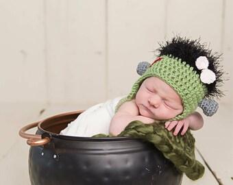 Frankenstein, newborn frankenstein, frankenstein hat, halloween hat, newborn halloween, halloween costume infant, infant frankenstein hat