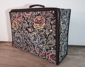 Vintage Tapestry Suitcase Luggage Black and Multicolored Floral