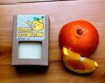 Natural Vegan Soap Citrus Celebration Orange Scented Handmade Body Soap Teen Made in Chicago