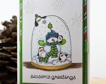 Handmade Christmas Card, Snow Globe Christmas Card, Winter Holiday Card, Hand stamped Christmas Card, Snowman Christmas Card, Penguin Card