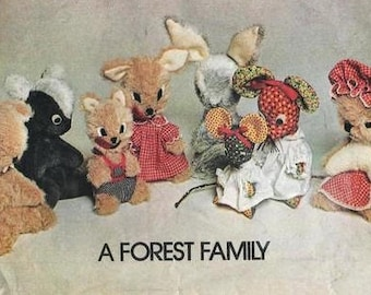 "McCall's 5369 A FOREST FAMILY Toy Animals Wolf Squirrel Mouse Skunk Rabbit Woodchuck Sizes 12 1/2"" and 10"" Vintage 1970s"