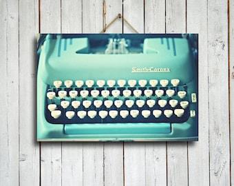 Typewriter in Bue - Vintage Blue Typewriter art - Vintage Typewriter decor - Vintage Typewriter photography - Vintage decor