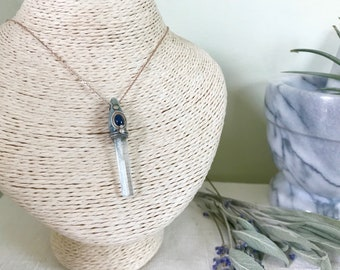 Simple Truth - Aquamarine Crystal and Sapphire Stone Necklace on Sterling Silver and Rose Gold Chain - Inspired Original