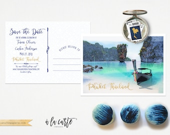 Thailand Phuket Illustrated Destination Wedding Save the Date Postcard  Asian wedding invitation card Thai wedding - Deposit Payment