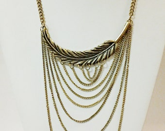 Antique Bronze Chain Necklace / Bronze Chain with Leaf / Bib Necklace.