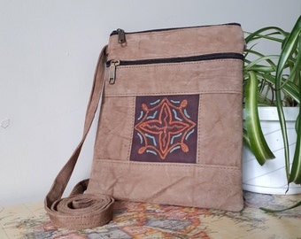 Handcrafted Kashmir Boho Chic Suede Leather Crossbody Purse in Beige