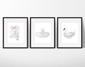 White Swan Print - Ballerina Wall Art - Fashion Wall Art - Teen Girl Room Decor - Fashion Art - Ballet Dancer Print - Teen Girl Gifts