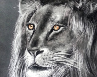 painting depicting a lion