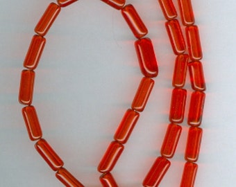4mm x10mm Christmas Red Glass Tube Spacers Beads Red Tube Spacer Bead